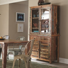 Load image into Gallery viewer, Keller Rustic China Cabinet with Louvered Doors
