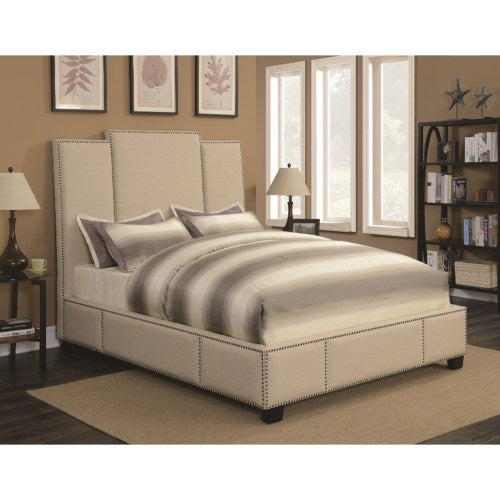 Lawndale California King Upholstered Bed in Beige Fabric
