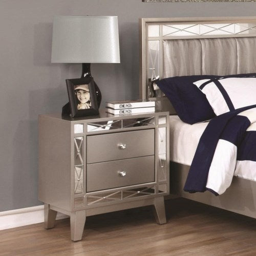 Leighton 2 Drawer Nightstand with Mirrored Panel Accents