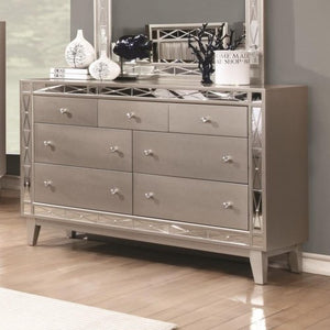 Leighton 7 Drawer Dresser in Mercury Metallic Finish
