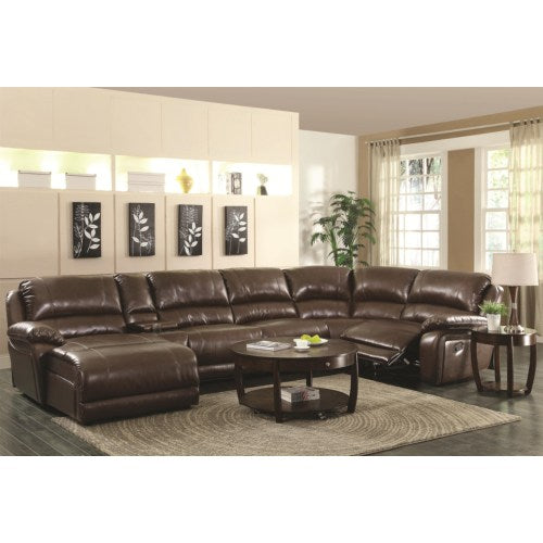 Mackenzie Chestnut 6-Piece Reclining Sectional Sofa with Casual Style