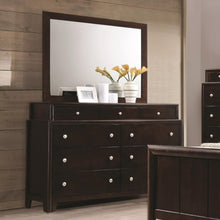 Load image into Gallery viewer, Madison Dresser with Nine Dovetail Drawers and Mirror with Wood Frame