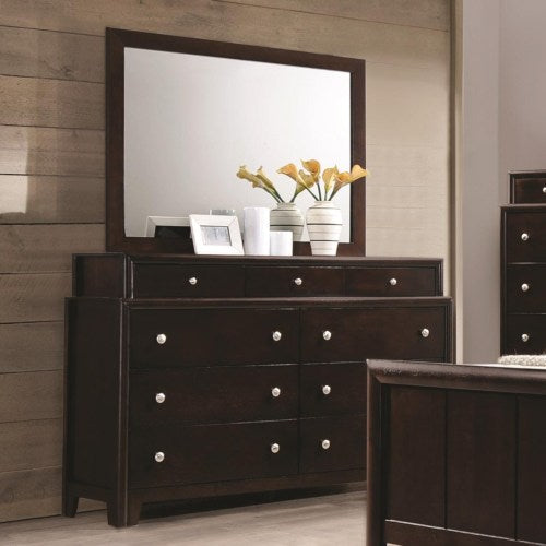 Madison Dresser with Nine Dovetail Drawers and Mirror with Wood Frame