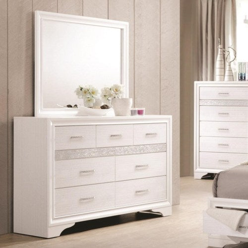 Miranda 7 Drawer Dresser & Mirror with Wood Frame
