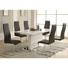 Load image into Gallery viewer, Modern Dining 7 Piece White Table & Black Upholstered Chairs Set
