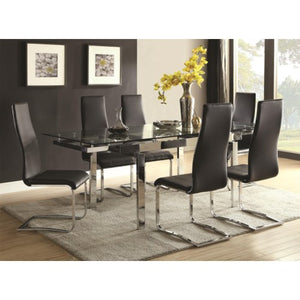 Modern Dining Contemporary Dining Room Set With Glass Table 106281/10051BLK