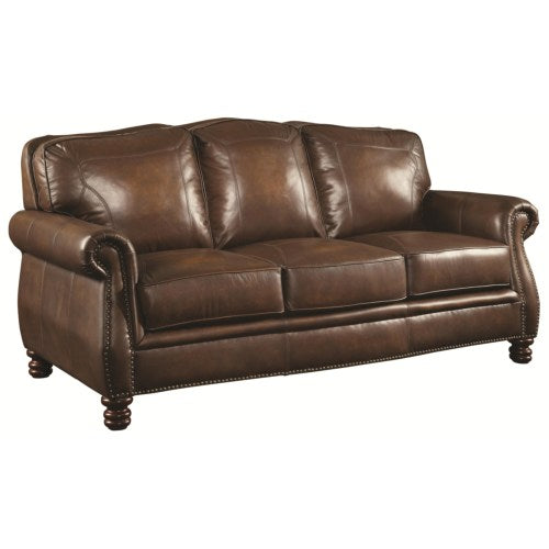 Montbrook Traditional Sofa with Rolled Arms and Nail head Trim