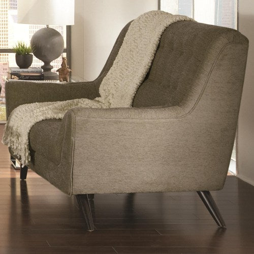 Natalia Contemporary Love Seat w/ Exposed Wood Legs
