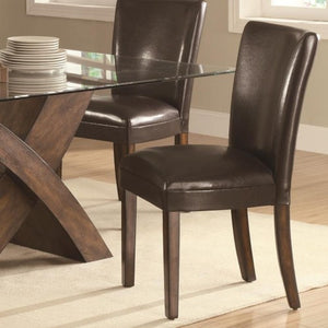 Nessa Brown Leather Like Vinyl Parsons Chair