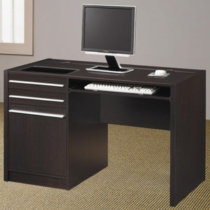 Ontario Contemporary Single Pedestal Computer Desk with Charging Station