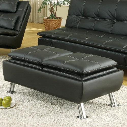 Ottomans Faux Leather Storage Ottoman with Reversible Tray Tops