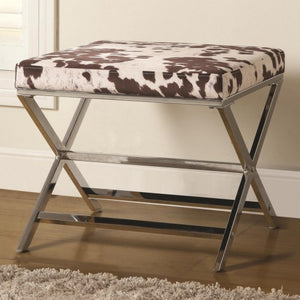 Ottomans Cow Print Ottoman w/ Chrome Base