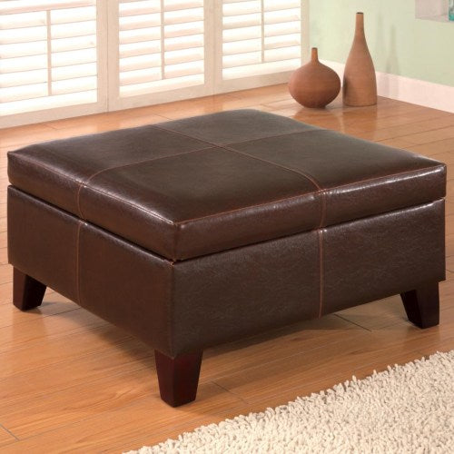 Ottomans Contemporary Square Faux Leather Storage Ottoman