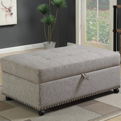 Ottomans Grey Sleeper Ottoman with Nailhead Trim