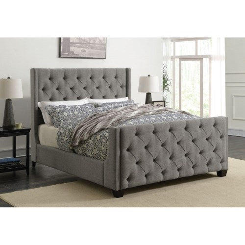 Queen Upholstered  Bed with Button Tufting 300708Q