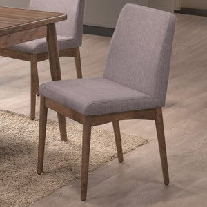 Pasquil Mid Century Modern Dining Chair with Gray Upholstery