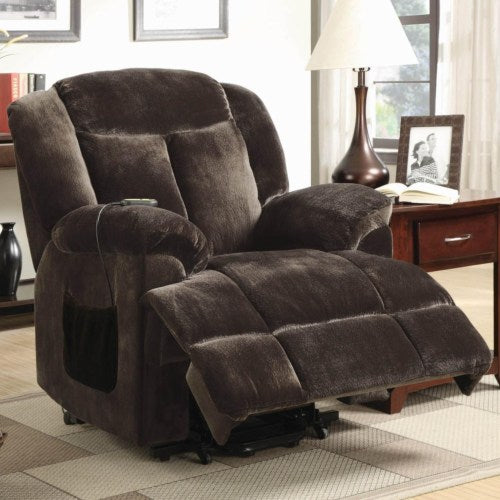 Recliners Casual Power Lift Recliner with Chocolate Colored  Velvet