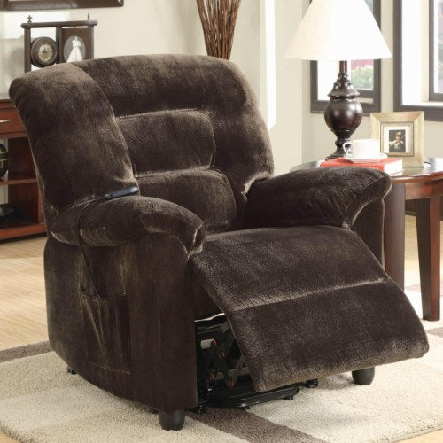 Recliners Casual Power Lift Recliner in Chocolate Upholstery