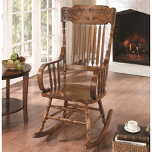 Load image into Gallery viewer, Rockers Wood Rocking Chair with Ornamental Headrest and Oak Finish