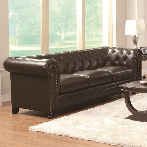 Roy Traditional Button-Tufted Sofa with Rolled Back and Arms