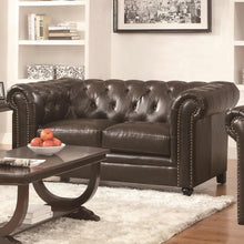 Load image into Gallery viewer, Roy Traditional Button-Tufted Love Seat with Rolled Back and Arms