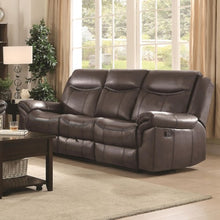 Load image into Gallery viewer, Sawyer Motion Motion Sofa with Pillow Arms and Outlet