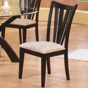 Shoemaker Contemporary Vertical Slat Side Chair with Fabric Seat