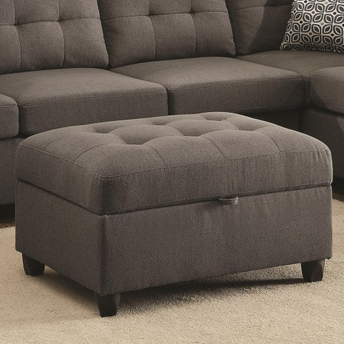 Stonenesse Grey Storage Ottoman With Button Tufting
