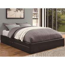 Load image into Gallery viewer, Upholstered Beds Queen Storage Bed with Black Leather-Like Vinyl