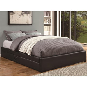 Upholstered Beds Queen Storage Bed with Black Leather-Like Vinyl