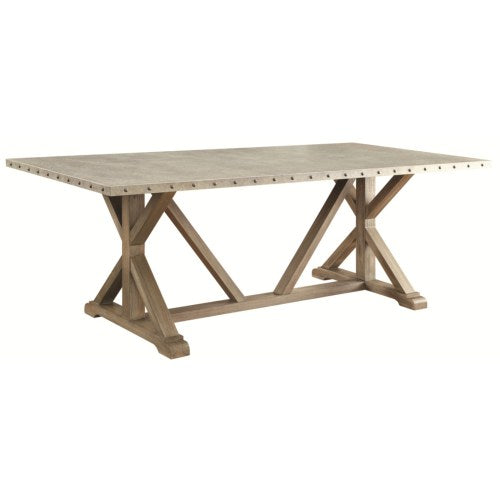 Webber Transitional Style Dining Table with Metal Top and Nailhead Trim
