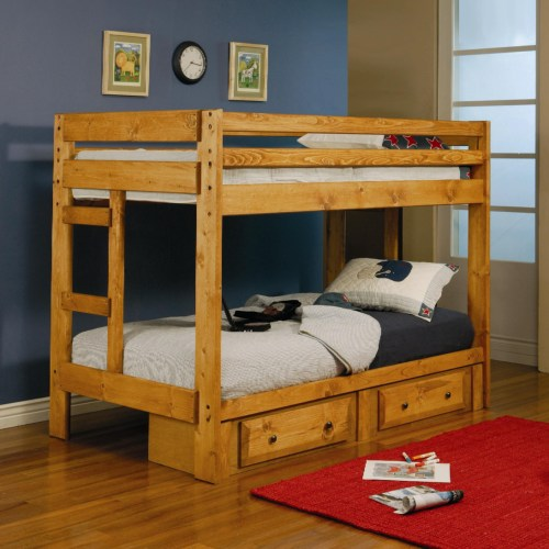 Wrangle Hill Twin Over Twin Bunk Bed with Built-In Ladders