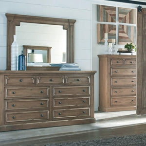 Florence Dresser and Mirror Set with Column Details