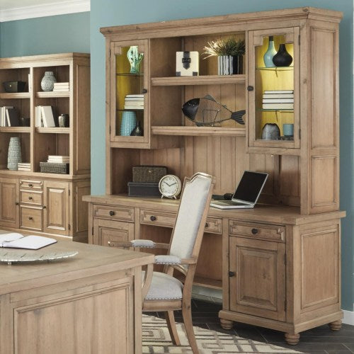 Florence Kneehole Credenza and Hutch with Rustic Finish