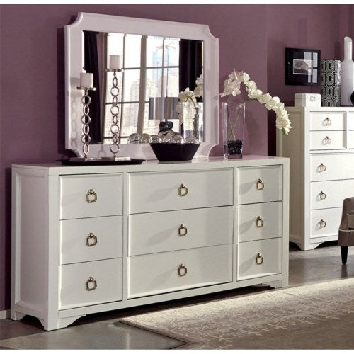 Furiani White Dresser and Mirror Set