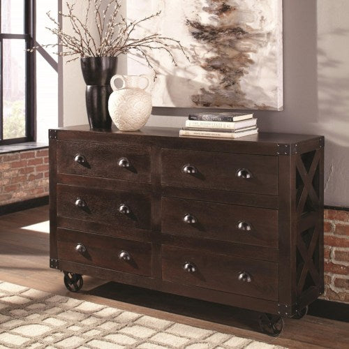 Home Accents Six Drawer Accent Cabinet with X-Detailing