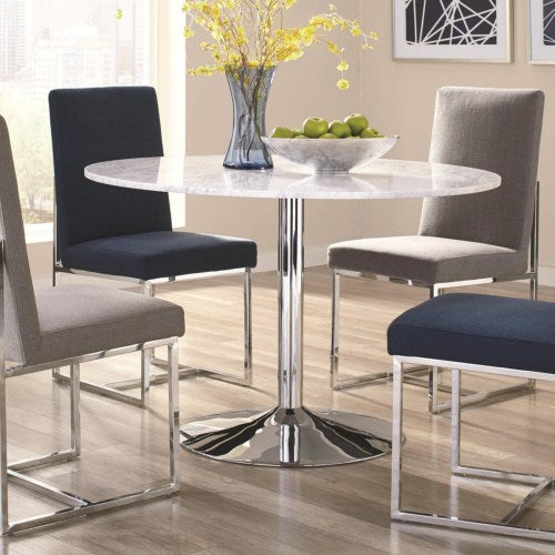 Mackinnon Modern Dining Table with Round Carrara Marble Top