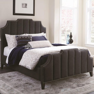 Sinclair Upholstered King Bed with Nailhead Trim