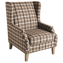 Load image into Gallery viewer, 904052 Upholstered Wingback Chair with Plaid Design