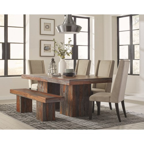Binghamton Rustic Dining Table Set with Bench