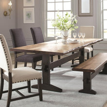Load image into Gallery viewer, Burnham Two-Tone Live Edge Dining Table with Trestle Base
