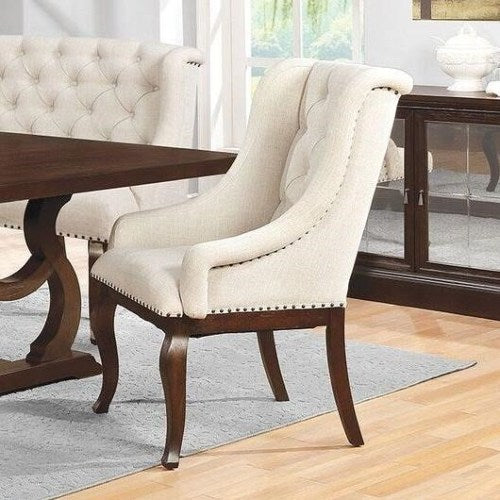 Glen Cove Antique Java Arm Chair with Button Tufting and Nailhead Trim