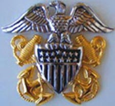 US NAVAL OFFICER FULL SIZE CAP BADGE