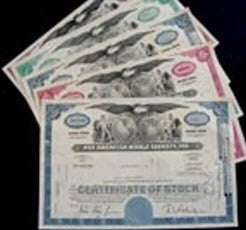 GENUINE PAN AM AIRLINE STOCK CERTIFICATES