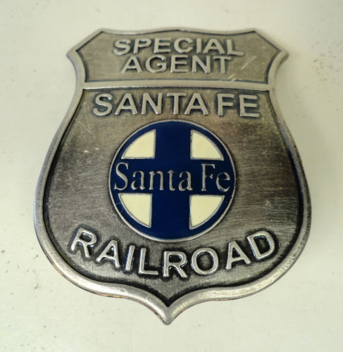 SANTA FE RAILROAD SPECIAL AGENT BADGE W/ENAMELED CENTER
