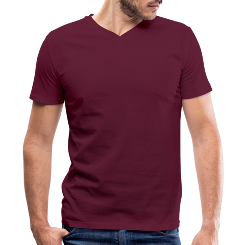 Men's V-Neck T-Shirt by Canvas - maroon