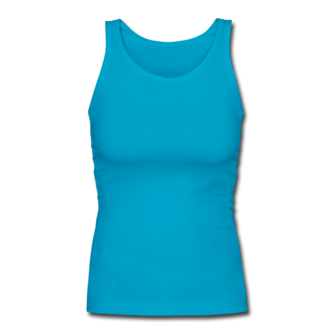 Women's Longer Length Fitted Tank - turquoise