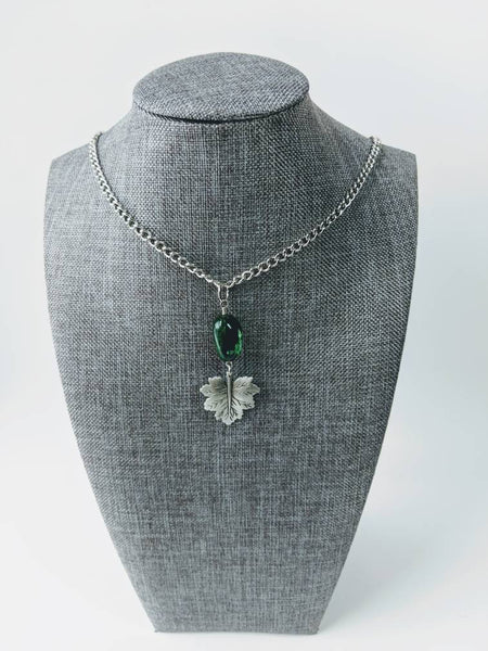 Gemstone and Pewter Leaf Pendant Necklace