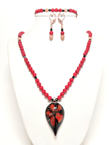 Black and Red Glass Flower and Red Stone Bead Statement Jewelry set