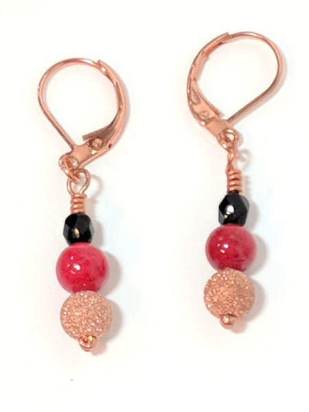 Black and Red Glass Flower and Red Stone Beade Statement Jewelry set